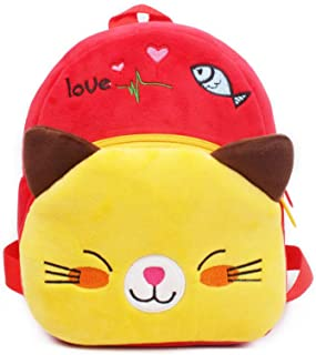 Smilesky Plush Cat Backpack Toddlers Kids Preschool Cartoon Kitty Animal Shoulder Bags Red 9.5