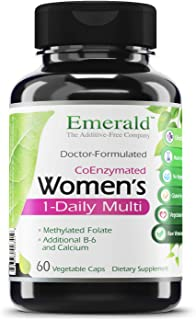Women`s 1-Daily Multi - Complete Daily Multivitamin with CoEnzymes + Vitamin B6 & Calcium - Supports Adrenal Function, Energy Boost, Hormonal Support - Emerald Labs - 60 Vegetable Capsules