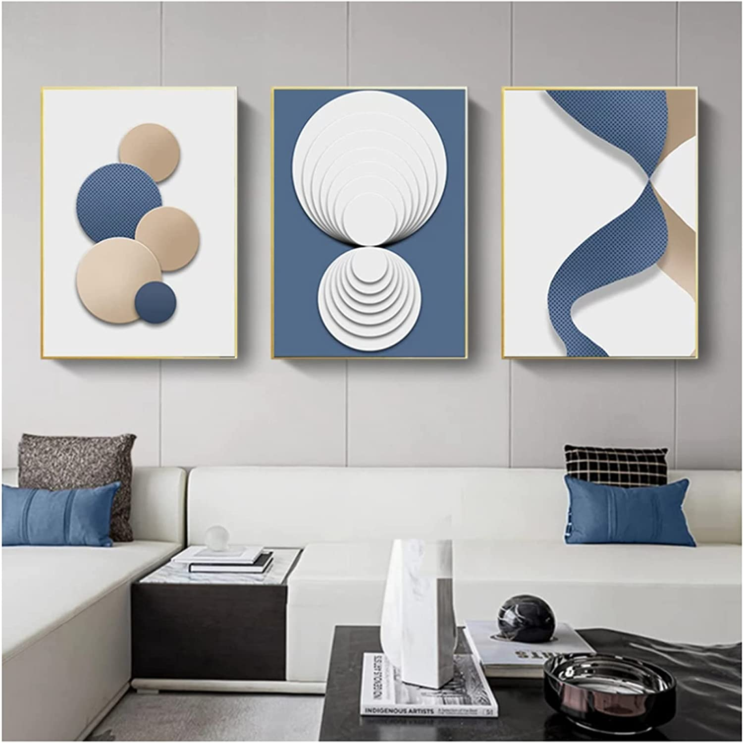 Blue White Gold Geometric Abstract Painti Art Max 42% OFF Canvas Poster Wall Free Shipping Cheap Bargain Gift