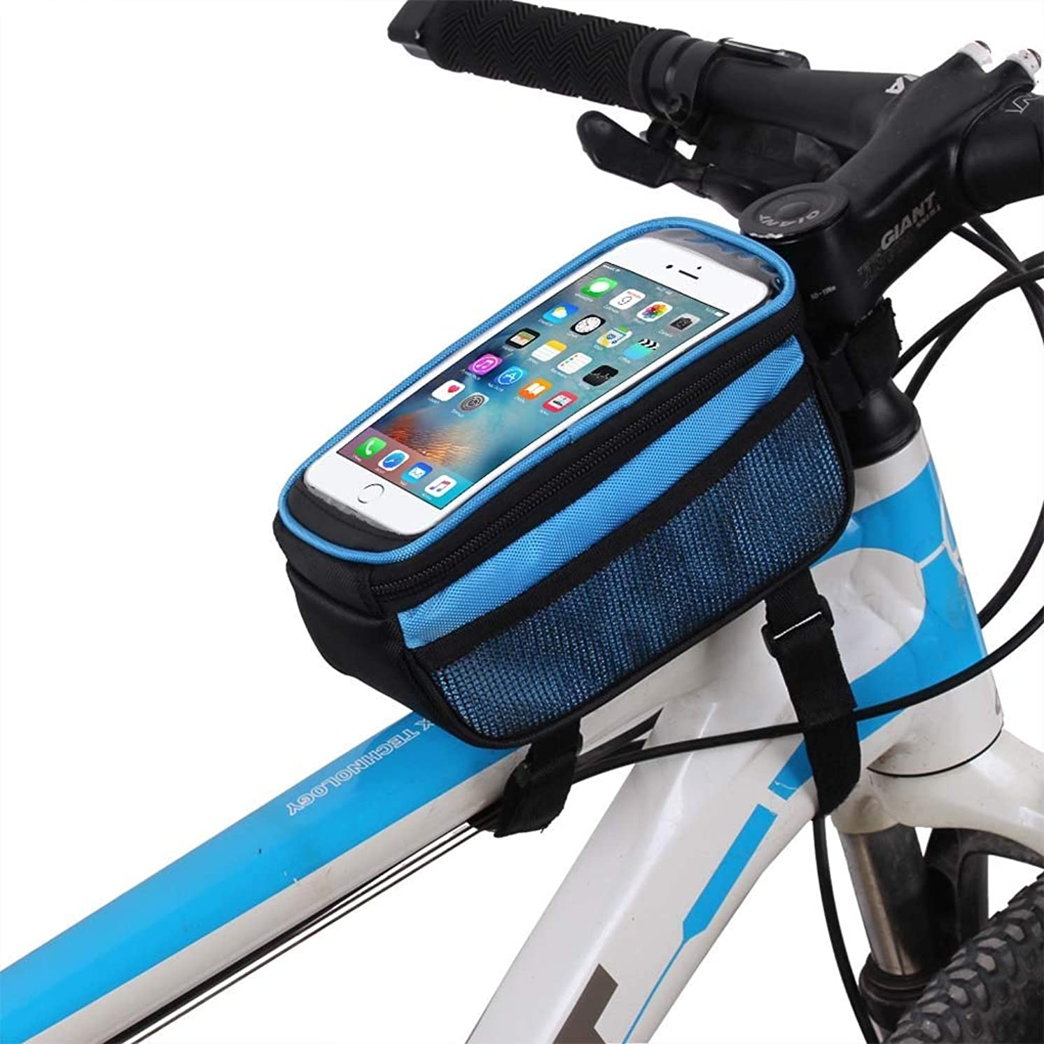 Cloud Bike Frame Bag, Bicycle Phone Mount Cycling Front Top Tube Pouch Frame Phone Holder Bag Pannier (Color : Blue, Size : 5.0 inches)
