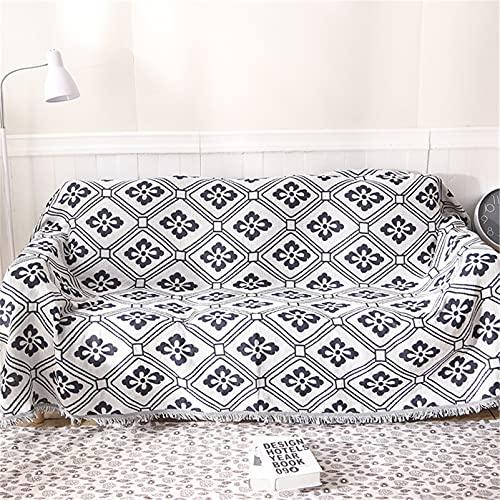 Sofá reversible toalla nórdica plum estilo algodón tejido lanza con borlas, cubierta de sofá de punto de algodón para el hogar,230 * 275cm