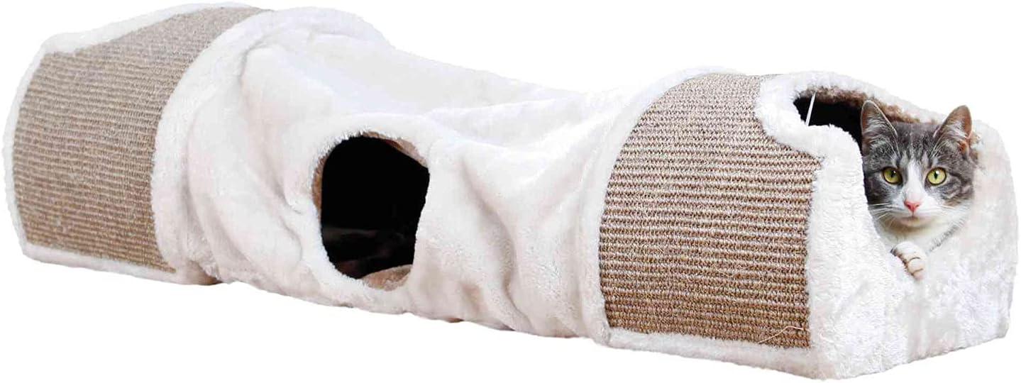 Trixie Túnel de arañazos para Gato, 110x 30x 38cm, Color Gris/marrón
