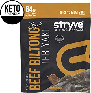 Stryve Biltong   Healthy Keto & Paleo Friendly Air-Dried Beef Snacks   50% More Protein Than Beef Jerky, Low Carb, No Nitrates, No Preservatives   Teriyaki, 4oz