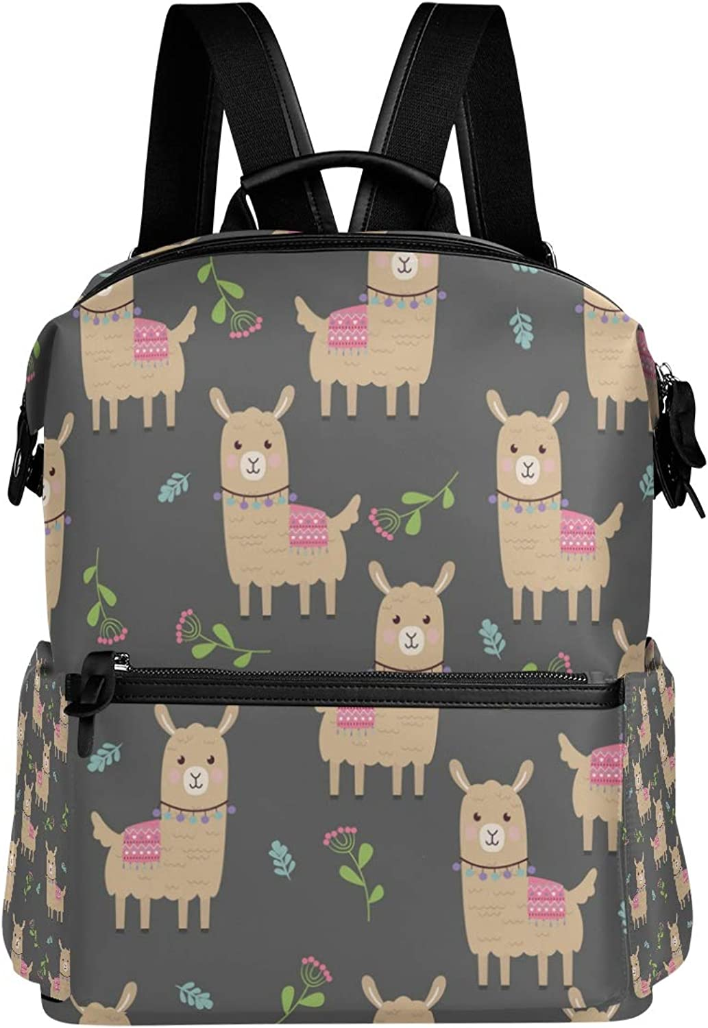 MONTOJ Adorable Yamma and Plants Leather Travel Bag Campus Backpack
