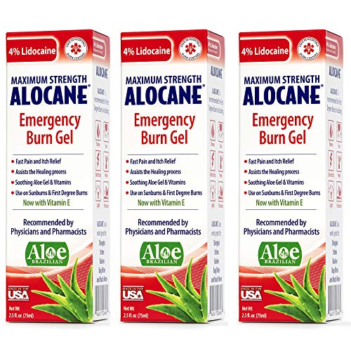 Alocane® Emergency Burn Gel 3 Pack, 4% Lidocaine Max Strength Fast Pain Itch Relief for Minor Burns, Sunburn, Kitchen, Radiation, Chemical, First Degree Burns, First Aid Treatment Burn Care 2.5 Fl Oz
