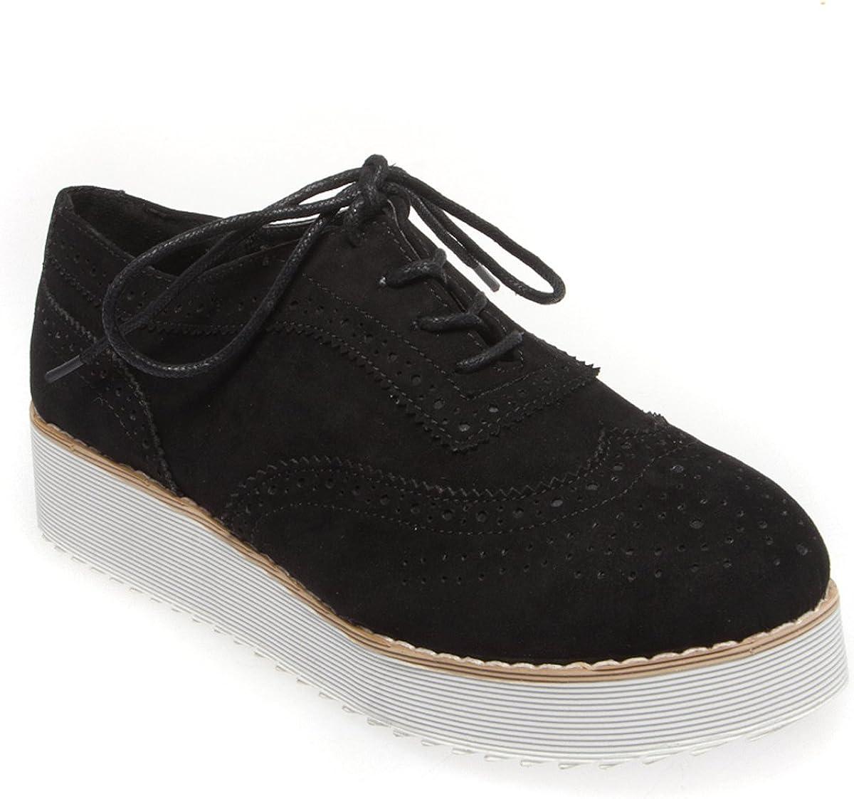 V-Luxury Womens 40-ASPEN1 Round Toe Platform Lace Up Oxford Flat Shoes