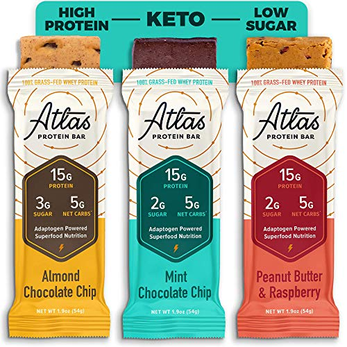 Atlas Bar - Keto Protein Bars, Rise & Grind Variety - High Protein, Low Sugar, Low Carb, Grass Fed Whey, Healthy Protein, Gluten Free, Soy Free (9-Pack)
