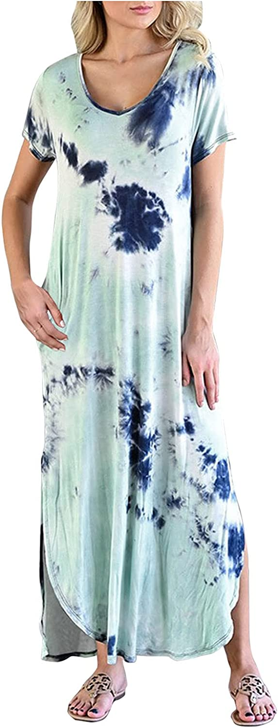 Max 57% OFF Women Maxi Dresses Summer Casual V Fork Sleeve Split Neck Short Now free shipping