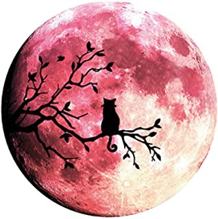 Quanhaigou Glow in The Dark Wall or Ceiling Moon Stickers – Luminous Decal Sticker for Simulated Planet Effect at Night – Red 3D Earth Black Tree Cat