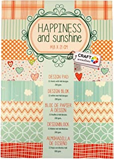 Craft Sensations A5 Paper Printed Design Pad, Vintage Happiness and Sunshine, 32 Sheets, 8 Designs, 200gsm