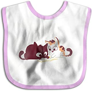 UBCATDESA Two Cats Reading Books Baby Bibs, Unisex Baby Soft Cotton Easily Clean Teething Bibs(Blue&Pink)