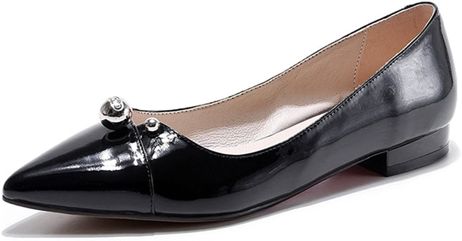 Nine Seven Patent Leather Women's Pointy Toe Low Heel Handmade Plain Loafer Flats