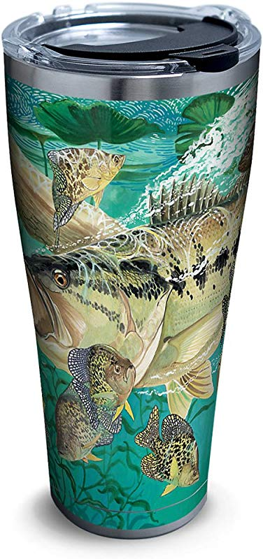Tervis 1263313 Guy Harvey Bass Stainless Steel Tumbler With Clear And Black Hammer Lid 30oz Silver