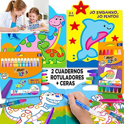 Coleset Manualidades Niños 3 Años Pinturas para Niños Ceras De Colores Rotuladores Entretenimiento Libros para Colorear Niños 2 Años Cuadernos para Colorear Niños Dibujos Colorear Papeleria Infantil