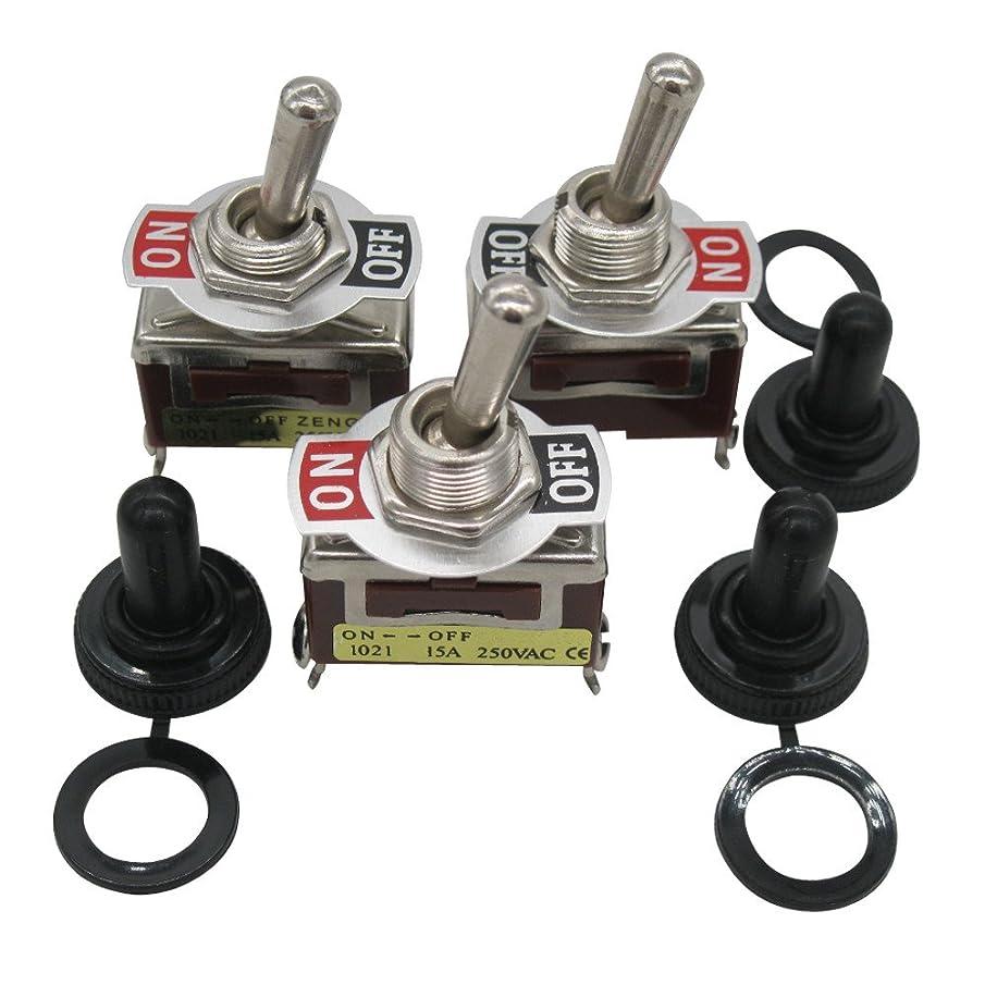 3pcs Heavy Duty 20A 125V 15A 250V SPST 2 Terminal Pin ON/Off Rocker Toggle Switch Metal + 3pcs Waterproof Cover 2 Years Warranty Ten-1021