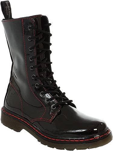 Easy 10-Loch TR Bloody patent schwarz Stiefel Rangers Schwarz Lack rote naht Stiefel Schuhe