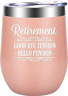 Good Bye Tension Hello Pension - Happy Retirement Gifts for Women - Funny Retired Gifts for Retiring Teacher, Nurse, Best Friend, Wife, Mom, Grandma, Boss, Coworker, Retiree - LEADO 12oz Wine Tumbler