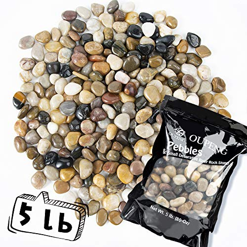OUPENG Pebbles Polished Gravel, Natural Polished Mixed Color Stones, Small...