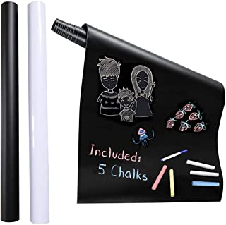 2Pcs XL Chalkboard Contact Paper(Black and White)- 45cmW x 200cmL Extra Large Chalk Board Paper Roll Peel & Stick - Remova...