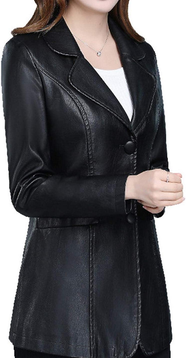 PAODIKUAI Women's Button Front PU Leather Blazer Jacket Lapel Slim Faux Leather Coat