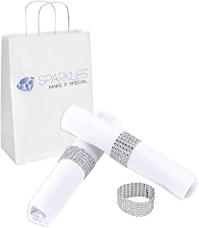 Sparkles Make It Special 100-pcs Rhinestone Diamond Napkin Rings - Silver - Wedding Party Dinner Banquet Reception Catering Special Event - Handmade Bling Decoration