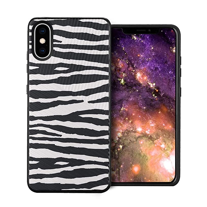 Capsule Case Compatible with iPhone Xs Max [Embossed Diagonal Lines Hybrid Dual Layer Slim Armor Black Case] for iPhone Xs Max - (Zebra)
