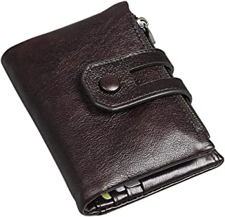 Men's Zip Around Wallet Leather Large Capacity Short Folding Card Holder Vintage Style-Dark Brown