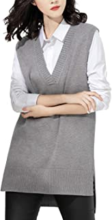 Women's Casual V Neck Knitted Pullover Sleeveless Sweater Vest