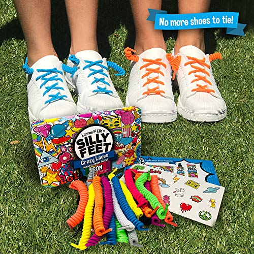 Kids Shoe Laces No Tie Shoelaces Curly Twisty Elastic Shoe Strings Children Toddler Laces 10 Pairs Neon