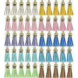 Rayong 50 Pezzi Colorata Piccole Nappe Pelle Scamosciata Nappe Ciondolo di Nappe per La Decorazione Gioielli Fai da Te Orecchini Portachiavi Creazione di Segnalibri,10 colori