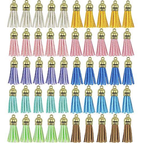Rayong 50 Piezas Colgantes De Borlas Multicolor Borlas de Cuero Mini Borlas de Flecos para Clave Cadena DIY Accesorios,10 Colores (Gorra de Dorada)