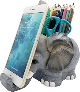 Large Capacity Elephant Desk Pen and Pencil Holder Pen Cup Holder with Phone Stand,Desk Accessories Stationery Makeup Brus...