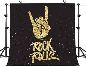 MME 10x10Ft Party Photography Backdrop Rock Roll Backdrop Golden Glitter Shinny Background Vinyl Video Studio GEME251