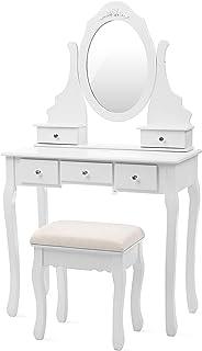 SONGMICS Coiffeuse, Table de Maquillage, avec 1 Miroir, 5 tiroirs et 1 Tabouret, Parois dans Le tiroir, Miroir pivotant, B...