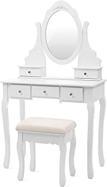 SONGMICS Coiffeuse, Table de Maquillage, avec 1 Miroir, 5 tiroirs et 1 Tabouret, Parois dans Le tiroir, Miroir pivotant, Blan