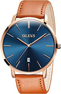 OLEVS Mens Watches Ultra Thin Minimalist Wrist Watch Analog Quartz Deep Blue Dial and Leather...