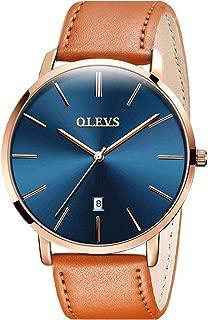 OLEVS Mens Watches Ultra Thin Minimalist Wrist Watch Analog Quartz Deep Blue Dial and Leather Band Watches - Calendar Date Waterproof Quartz Casual Watch Simple Leather Band Watch Mens