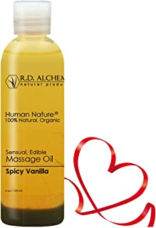 100% Natural & Organic Edible Massage Oil for Body. Best Massage Supply with Organic Essential Oils. Erotic Flavor: Spicy Vanilla - Vanilla and Cinnamon Oils