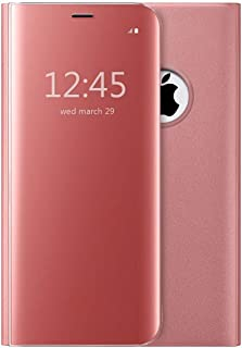 iPhone X Mirror Plating Flip Case,Shockproof Stand Slim Mirror Clear View Protective Flip Case Cover For Apple iPhone X (Rose Gold)