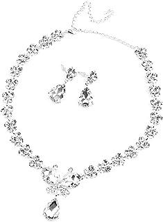 Set di gioielli da sposa, modello farfalla, con strass, comprende collana e orecchini