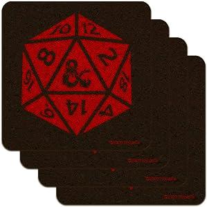 Dungeons & Dragons d20 Dice Low Profile Novelty Cork Coaster Set