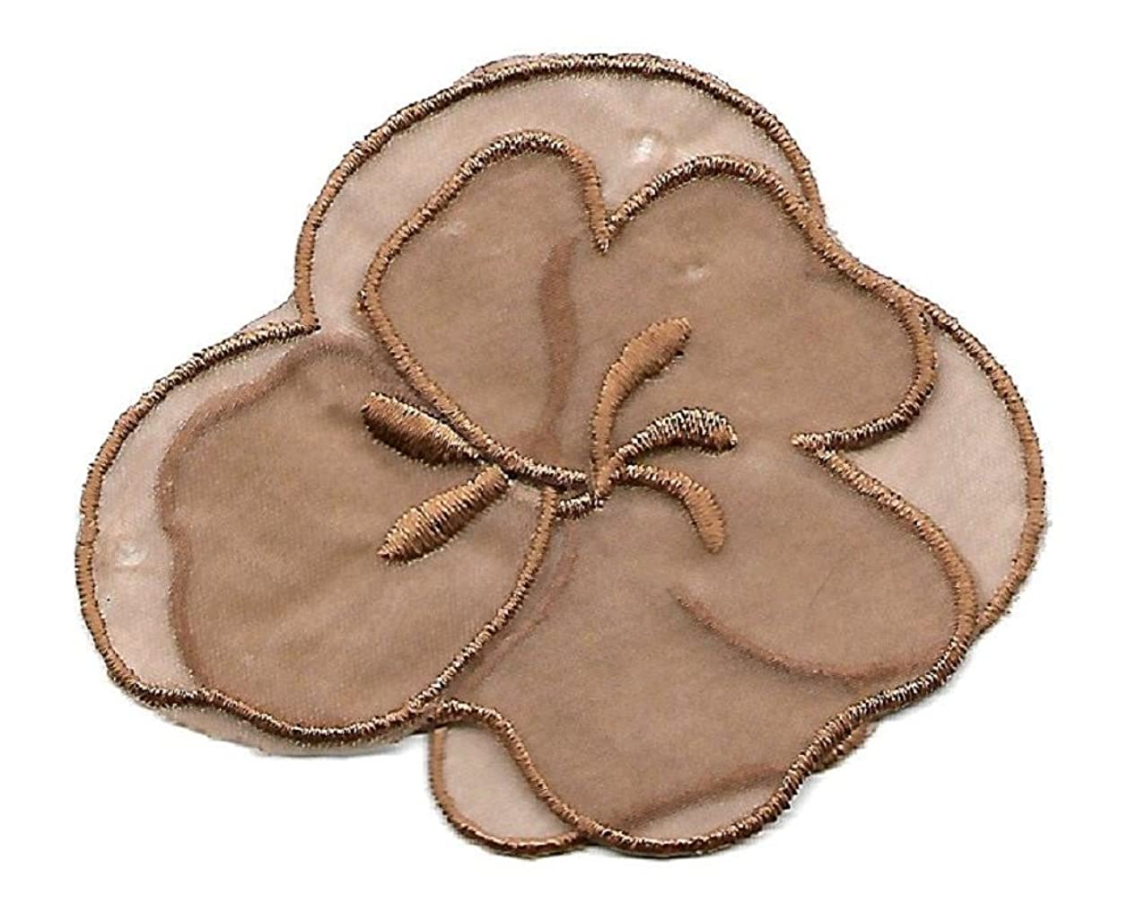 BEEKLEY BOWS Iron On Craft Sewing Applique for Accessories, Embellishments, Decor (Taupe Floral Applique)