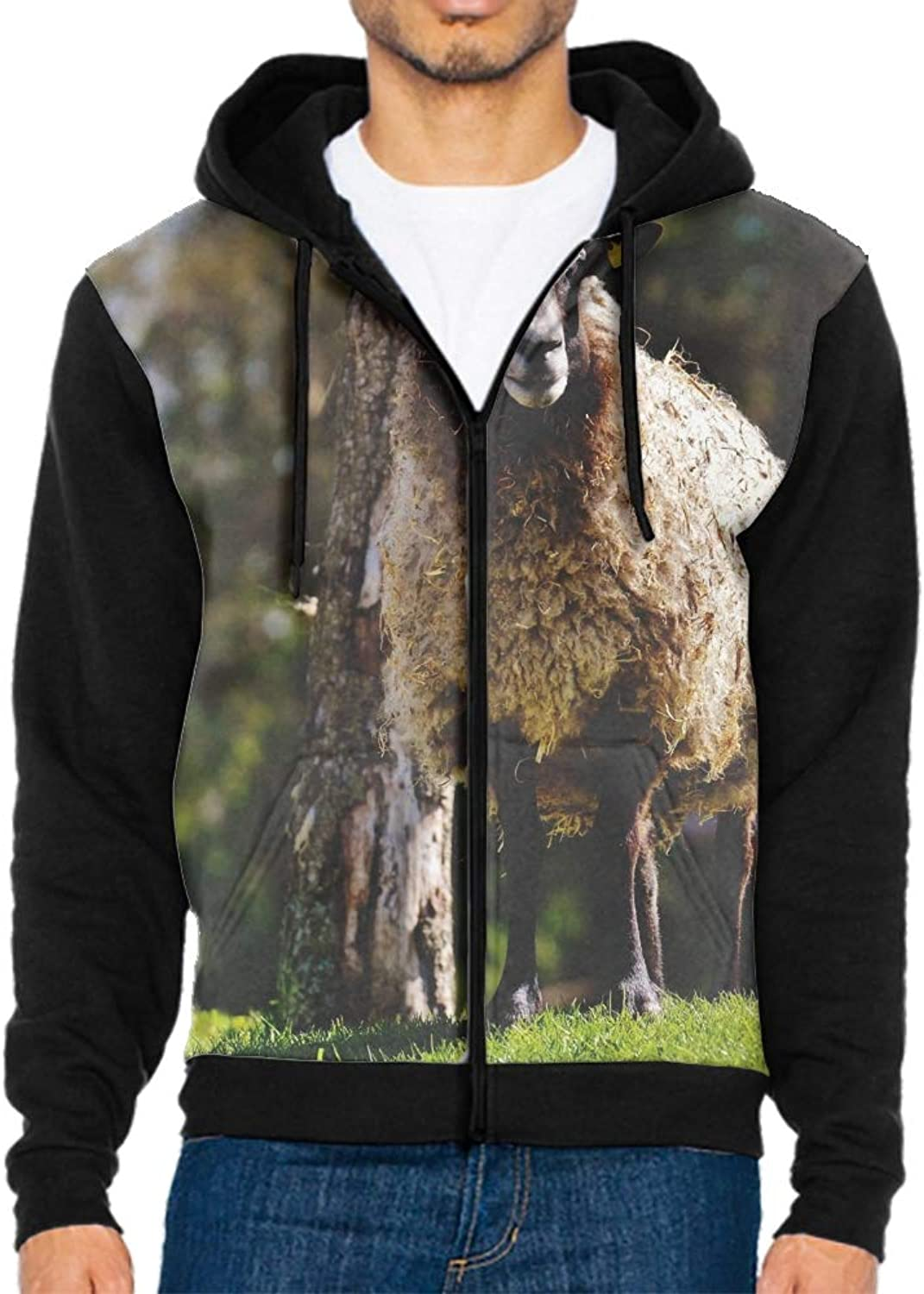 Anyako Men's Sheep Hair Grass Hoodie Novelty Cool Zip Up Hooded Sweatshirt Hoodie S2XL