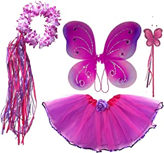 Enchantly Girls Hot Pink and Purple - Fairy Costume Dress Up Play - Wings, Tutu, Wand & Halo Fits Age 3-6