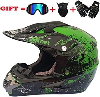 Adult Youth Helmet Motocross, Offroad Helmets Goggles Gloves Windproof Mask Gear Combo, DOT Certification, for ATV Dirt Bike MX Motorcycle Scooter Road Race