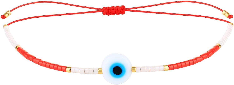 KELITCH Evil Eye Seed Beaded Bracelets Handmade Friendship Strands Bracelets Adjustable Charm Bangles(Red A)