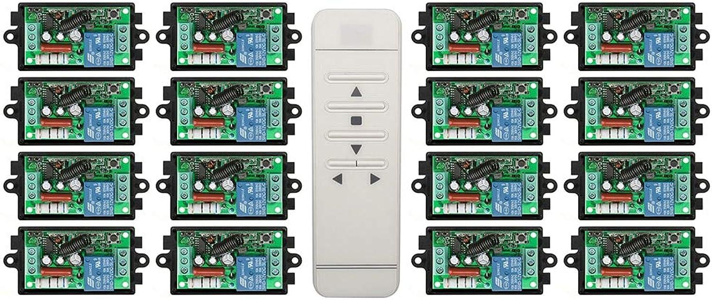 Latest AC220V 1CH 10A 433MHZ Intelligent Digital RF Remote Control Switch +16Receiver Garage Door Window lamp Blinds