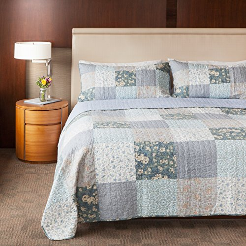 SLPR Wildflowers 3-Piece Patchwork Cotton Bedding Quilt Set - King with 2 Shams | Blue Country Quilted Bedspread