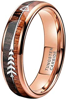 iTungsten Tungsten Rings for Men Women Wedding Bands Koa Wood Arrow Inlay 8mm Engagement Hunting Jewelry