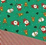 0,5x1,4m Jersey dunkelgrün Weihnachtsmann, Schneemann &